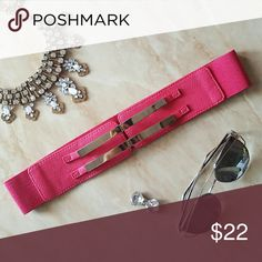 Hot Pink & Silver Belt Brand new. Never worn. Two hook closures on the front. Elastic band. Fast shipping! No trades. Thank you for supporting my shop in my closet! Accessories Belts