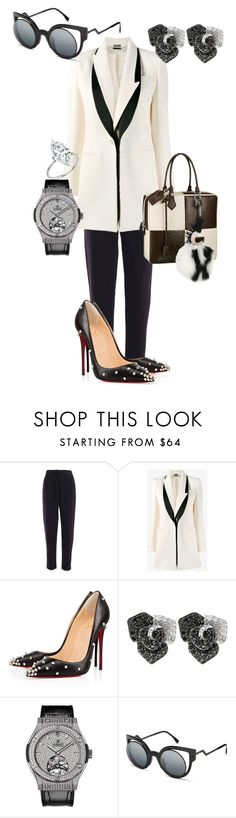 """""""Chess Check"""" by figure-1 ❤ liked on Polyvore featuring Alexander McQueen, Christian Louboutin, Effy Jewelry, Hublot, Louis Vuitton and Fendi"""
