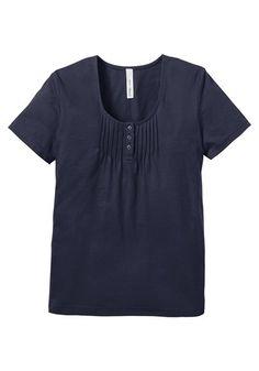 sheego casual sheego Casual Shirt mit süßen Biesen am Ausschnitt blau