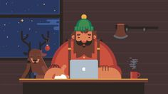 Lumberjack designed by Alexey Kuvaldin for Motion Authors. Connect with them on Dribbble; the global community for designers and creative professionals. Flat Design Illustration, Character Illustration, Graphic Illustration, Illustrations, Illustration Styles, Vector Animation, Lumberjack Party, Web Design, Gifs