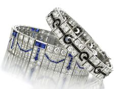 A Pair of Art Deco Diamond, Sapphire and Black Onyx Bracelets, by Van Cleef & Arpels, circa 1920s. Available at FD Gallery. www.fd-inspired.com