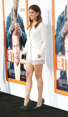 Kate Walsh fabulous shapely legs in tiny shorts and suede high heels at a movie premiere