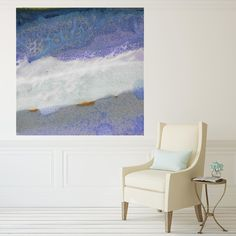 purple blue white and turquoise  modern canvas prints | white neutral room | white chair | coastal artwork | beach house artwork | interior design | coastal style interior | contemporary wall art |  wall decor | modern wall art | abstract canvas artwork | oversized artwork | large print |  square print | giclees | Maggie Minor Designs