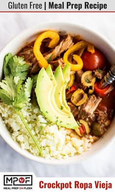 A thick Cuban inspired beef stew made by simmering tomatoes and peppers with flank steak and then shredding the beef. Serve as a stew, or use to top cauliflower rice. This beef stew is freezable, so enjoy some now and freeze to have healthy meals on hand
