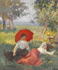 "Alfred Marie Le Petit (French, 1876-1954), ""Two Women Resting in a Landscape,"" no date; Indianapolis Museum of Art, The Holliday Collection, 79.263"