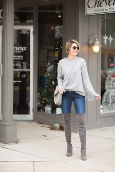Seersucker and Saddles. Grey knit sweater+skinny denim+pale brown over the knee boots+beige crossbody bag+sunglasses. Fall Casual Outfit 2016