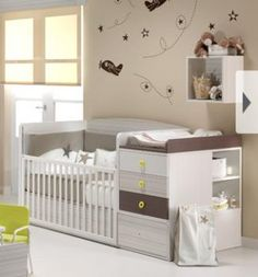Very cool crib/changing table/storage Baby Nursery Furniture, Nursery Room, Boy Room, Baby Bedroom, Baby Room Decor, Kids Bedroom, Baby Boy Nurseries, Baby Cribs, Nursery Neutral