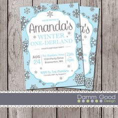 Love The Play On Words With These Winter ONEderland Birthday Invitations Great Idea For A