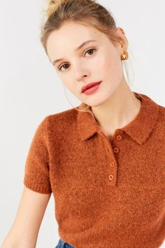 Shop UO Shrunken Fuzzy Polo Sweater at Urban Outfitters today. We carry all the latest styles, colors and brands for you to choose from right here. Polo Sweater, Summer Knitting, Cardigans For Women, Knitwear, Urban Outfitters, Fitness Models, Style Inspiration, Couture, How To Wear