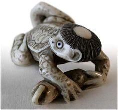 Kappa - The Kappapedia: - - Art Motives - - Japanese Folklore, Japanese Art, Kai Monster, Mythological Creatures, Buddhist Art, Irezumi, Japanese Pottery, Glazes For Pottery, Old Art
