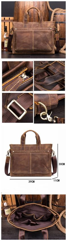 Leather Business Bag, Handmade Briefcase, Laptop Bag MS148