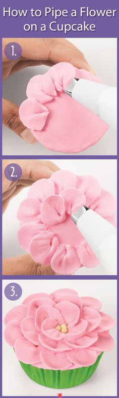 How to make a flower on the top of a cupcake