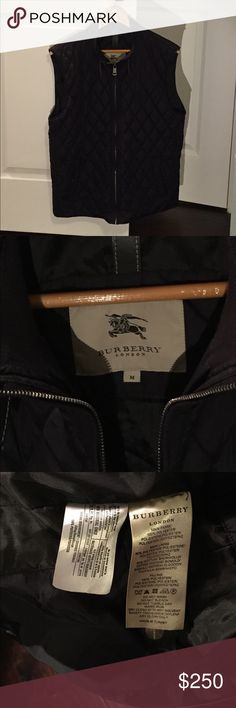 Burberry Quilted Vest Burberry quilted vest, in excellent condition. Only reason i'm selling it is because it's navy blue and I realized I wanted black. Priced to sell! 100% authentic, and this can easily be verified by customer by taking it to a Burberry store. Burberry Jackets & Coats Vests