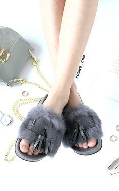 Grey Peep Toe Faux Fur Tassel Trim Soft Sole Slippers