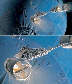 """gameraboy: """"Ralph McQuarrie concept art from 1975 """"Battle for Death Star (fighters dive on sphere)"""" """""""