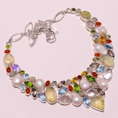 .925 STERLING SILVER NATURAL PREHANITE+BIVA PEARL+CRYSTAL+BT NECKLACE F178 98GM