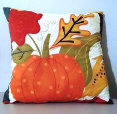 Autumn Pumpkin quilted pillow