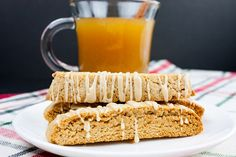 Spiced Apple Cider Biscotti - The perfect fall biscotti recipe for your cookie jar! Boiled apple cider gives this biscotti an intense apple flavor. Spiced Apple Cider, Spiced Apples, Baked Apples, Biscotti Flavors, Biscotti Recipe, Pumpkin Biscotti, Pumpkin Spice Latte, Butter Ball Cookies Recipe, Italian Fig Cookies