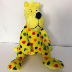 Kohls Lopshire Plush Dr Seuss Put Me In The Zoo Dog Stuffed Animal Yellow Spots #KohlsCaresForKids In The Zoo, Cute Plush, Movie Characters, Kohls, Vintage Shops, Dinosaur Stuffed Animal, Childhood, Yellow, Blue