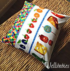 Eric Carle fabric The very hungry caterpillar cushion cover on Etsy, $14.21