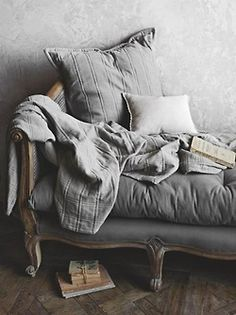 Grey daybed - would probably throw some colorful pillows on it, and get some color on the wall for contrast - But it just looks super comfy Grey Palette, Sofa Couch, Living Spaces, Living Room, Interiores Design, Shades Of Grey, Gray Color, Sweet Home, Home Decor