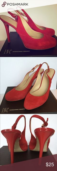 "INC Red Suede Slingback Pumps Beautiful and super comfortable INC Red Suede Slingback Pumps. Heel is 4 1/2"" with a hidden platform. These are in really good condition! Come with box. Dolce Vita Shoes Heels"