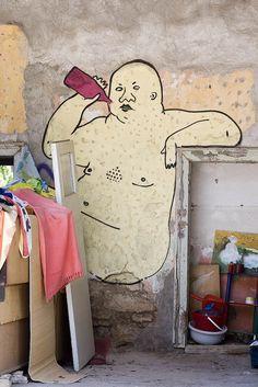 Chubby Drunk Nude Man  Ex: Athens, Greece