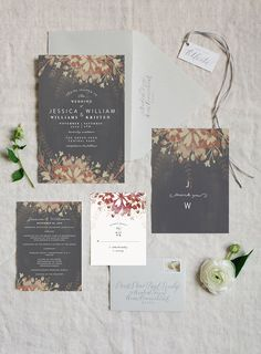 Enchanted Plum fairytale inspired Wedding Invitation Suite in Gray from Phrosne Ras at Minted.com