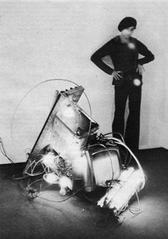 Alan Suicide with his sculpture at OK Harris Gallery, 1975. Photo by Yuri