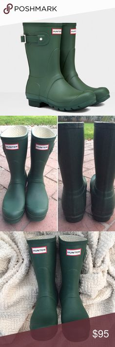 Hunter Green Mid-Calf Rainboots Hunter mid-calf green matte rain boots. These are super fun and easy to wear year round. They will keep you warm, dry and in style. The color is vibrant and ads a nice detail to an outfit. Lightly worn and shows wear on sole and a few tiny scuffs throughout. These are EU38/US7. Since they run large they fit more like a 7.5-8. Hunter Boots Shoes Winter & Rain Boots