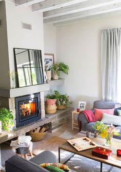 Home Interior, Interior Design Living Room, Living Room Designs, Interior Decorating, Living Room With Fireplace, Living Room Decor, Living Rooms, Cottage Design, House Design