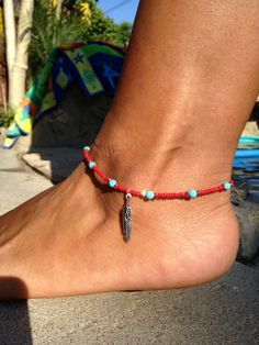 Boho Red and Turquoise Beaded Anklet with Feather Charm