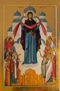 Protection of the Theotokos. Byzantine Icons, Byzantine Art, Queen Of Heaven, Russian Icons, Art Icon, Religious Icons, Orthodox Icons, Gold Art, Blessed Mother