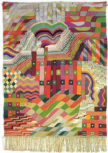 "Wall hanging - ""Slit Tapestry Red/Green""  1927/28  Gobelin technique   Cotton, silk, linen  150x110 cm  Slit Tapestry Red/Green on Bauhaus Online  Bauhaus-Archiv, Berlin"