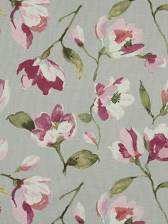 Modern Pink Grey Floral Upholstery Fabric by PopDecorFabrics