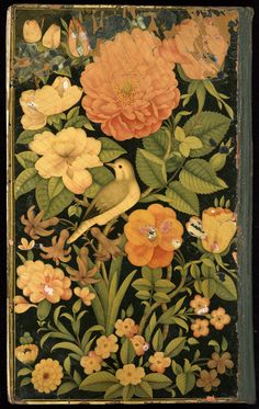 Persian lacquer binding, 18th century    The cover of this Persian manuscript is decorated with a scene painted in watercolours onto lacquered leather which is then covered with several more coats of lacquer.