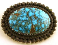 ~ Turquoise Brooch...love the matrix in this stone ~