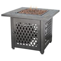 Endless Summer 30 in. Steel LP Fire Pit with Slate Mantel, Multi Colored Tiles With A Grey Lower Body