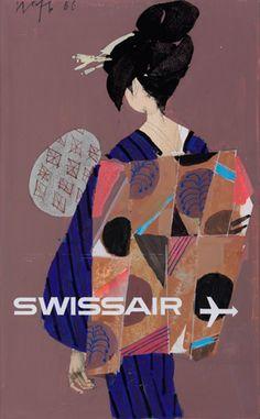 design-is-fine: Kurt Wirth, original drawings for Swissair poster, 1966. Switzerland. Via sgdf.ch