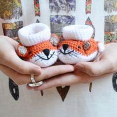 My first little Fox Little Fox, Crochet Earrings, Creations, Slippers, Clouds, Jewelry, Jewlery, Jewerly, Schmuck