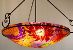 Painted Chandelier by artist Jenny Floravita Painted Chandelier, Chandelier For Sale, Light Art, Abstract Art, Hand Painted, Ceiling Lights, Sunset, Artist, Inspiration