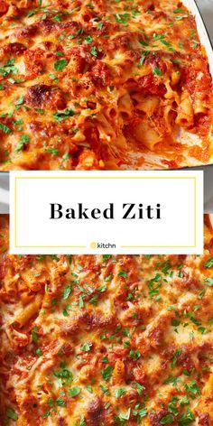 Baked Ziti With Ricotta, Easy Baked Ziti, Recipes With Ricotta Cheese, Baked Penne, Baked Macaroni, Baked Spaghetti, Macaroni Cheese, Gnocchi, Cooking Recipes
