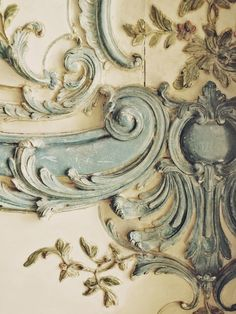 aged blue and cream