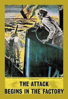The Attack Begins in the Factory - Art Print The Attack Begins in the Factory - Art Print Unknown Date/Britain #ShipsatWar