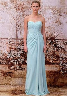 Monique Lhuillier Mint Long Chiffon Draped Gown with Soft Sweetheart Neckline and Side Pick-Up
