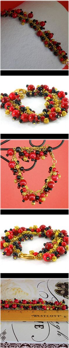 Red, black and gold beaded charm bracelet