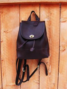 COACH AUTHENTIC dark brown leather back pack dark by VintageTins, $98.00