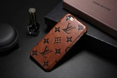 Leather Louis Vuitton iPhone 7 Cases Phone Cover Brown