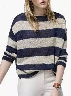 Casual Style Round Neck Long Sleeve Wide Stripe Women's Sweater