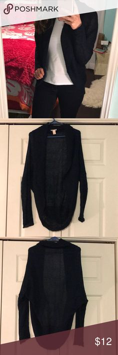 H&M Navy Cardigan -Cocoon styled cardigan -Has a cowled like edge which is hard to see because for how dark the color is (best seen in last pick)!  -Lightweight  -Never been worn H&M Sweaters Cardigans